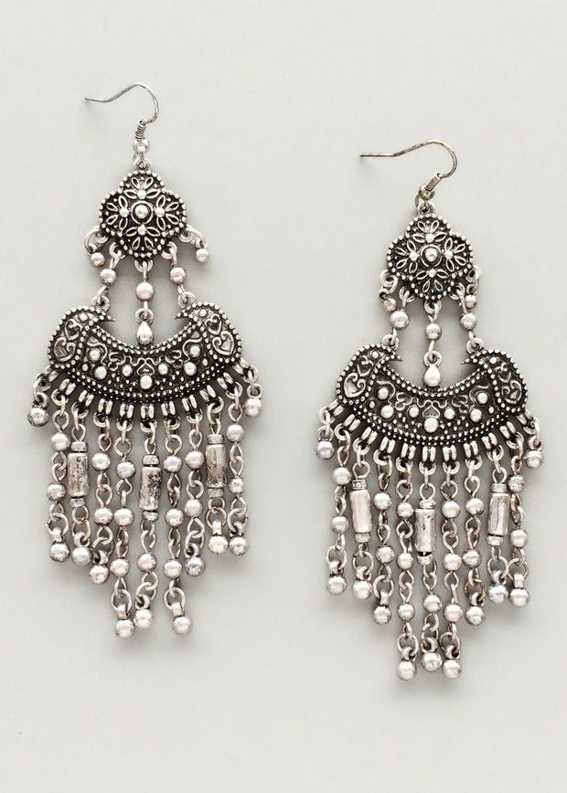 Silver Banjara Earrings  ❤ For More Follow On INSTA @love_ushi OR PINTEREST @ANAM SIDDIQUI ❤