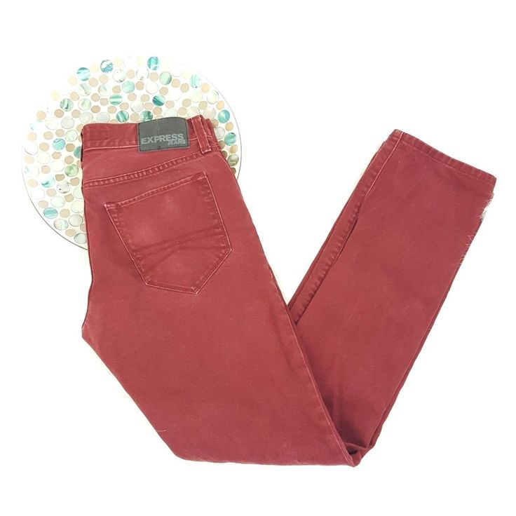 Express Mens Jeans Size 29 x 32 Maroon Colored Rocco Slim Fit Skinny Leg o924 #Express #SlimSkinny