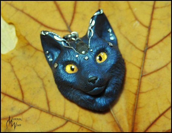 Cat necklace cat face cat head totem cat Magic cat Shaman