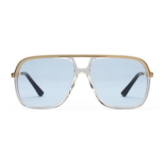 Sonnenbrille Mit Rechteckigem Rahmen Aus Metall Gucci Herreneckig Rechteckig 491439i33307021 Gucci Sonnenbrille Sonnenbrille Herren Brillen