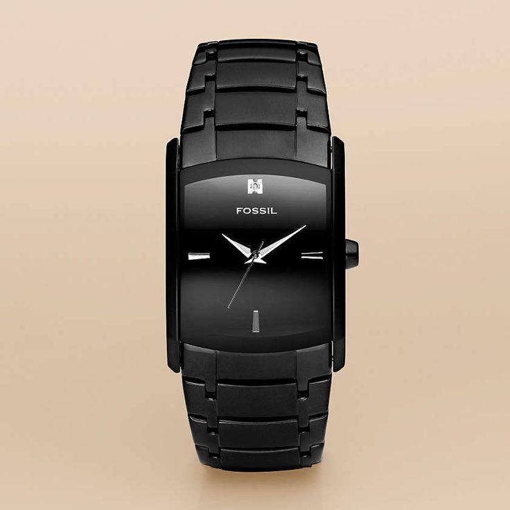 Nice!Black Analog, Dresses Rectangle, Fossil Watches, Watches Men, Fossils Watches, Black Stainless, Fossils Men, Stainless Steel, Men Watches