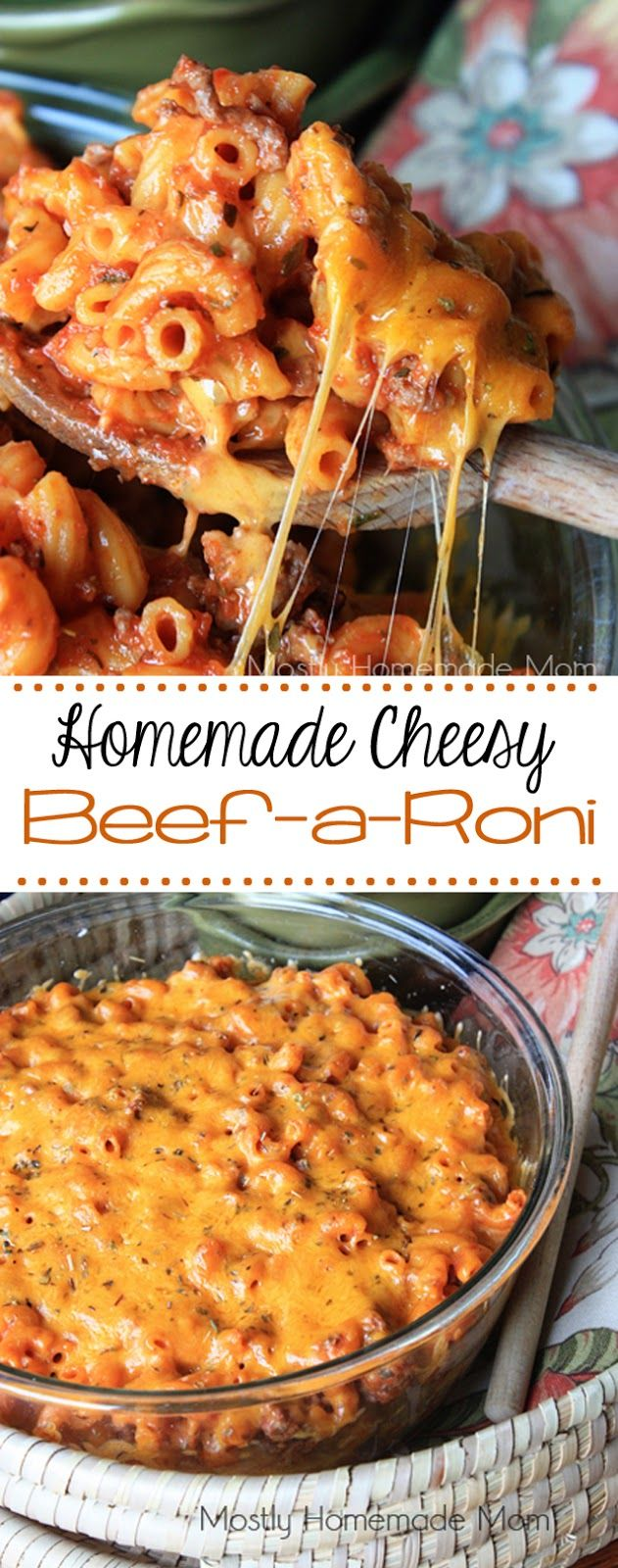 Homemade Cheesy Beefaroni - an amazing tomato meat sauce combined with elbow macaroni noodles and layers of gooey cheddar cheese - get your family gathered around the table again!