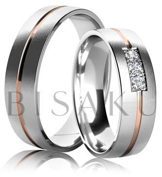 K29 Snubní prsteny z bílého a červeného zlata v saténově matném provedení s lesklou drážkou uprostřed prstene. Dámský prsten zdobený kameny. #bisaku #wedding #rings #engagement #svatba #snubni #prsteny