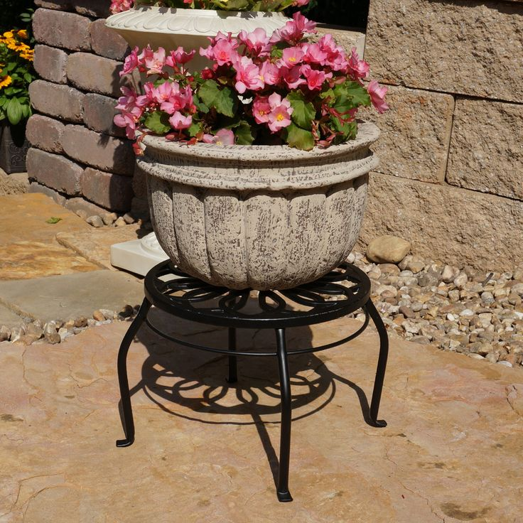 Nice Garden Treasures 9 In Black Indoor/Outdoor Round Steel Plant Stand