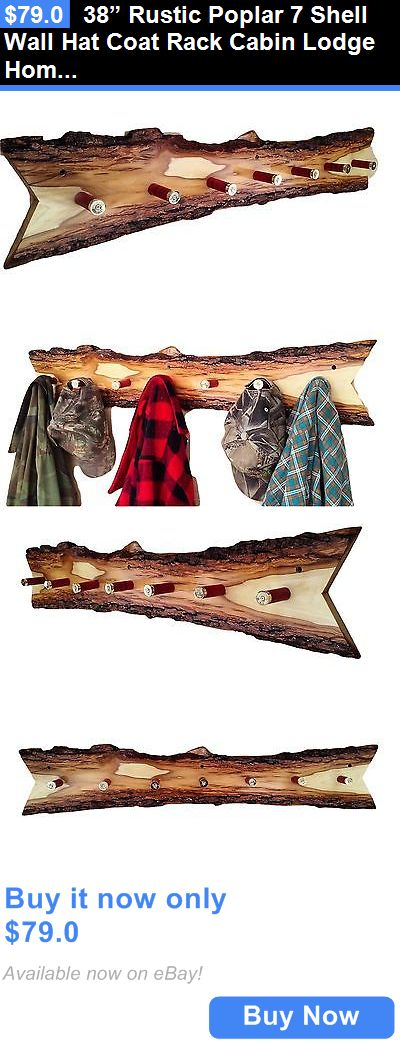 Home Decor: 38u201d Rustic Poplar 7 Shell Wall Hat Coat Rack Cabin Lodge Home