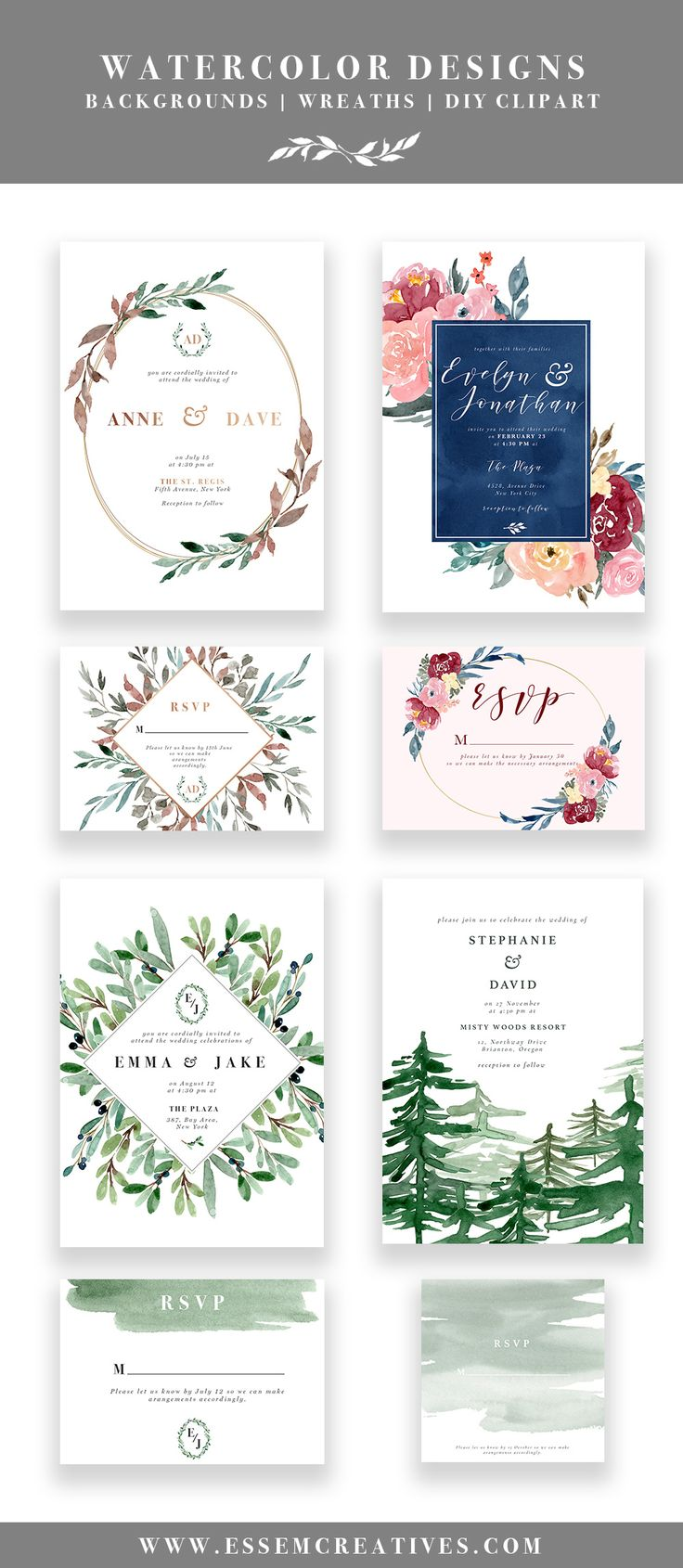 DIY Printable Watercolor wedding invitations | Watercolor Designs, Floral Watercolor Wreaths Floral Borders Digital Frames, Watercolor Flowers & Leaves Clip Art, Rustic Vintage Modern Hand Painted Wedding Stationery, Olive Branch, Burgundy Navy Blush Invitations, Forest Wedding Rustic Invitations, Cheap and Affordable Wedding Invitations | By Essem Creatives | www.essemcreatives.com |