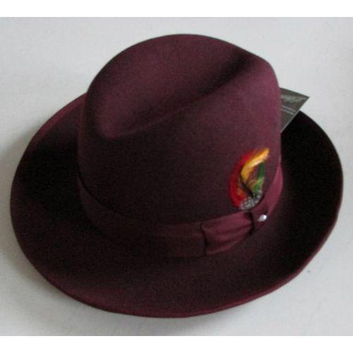 Burgundy Wool Winter Fashion Dress Derby Hats for Men SKU-159014
