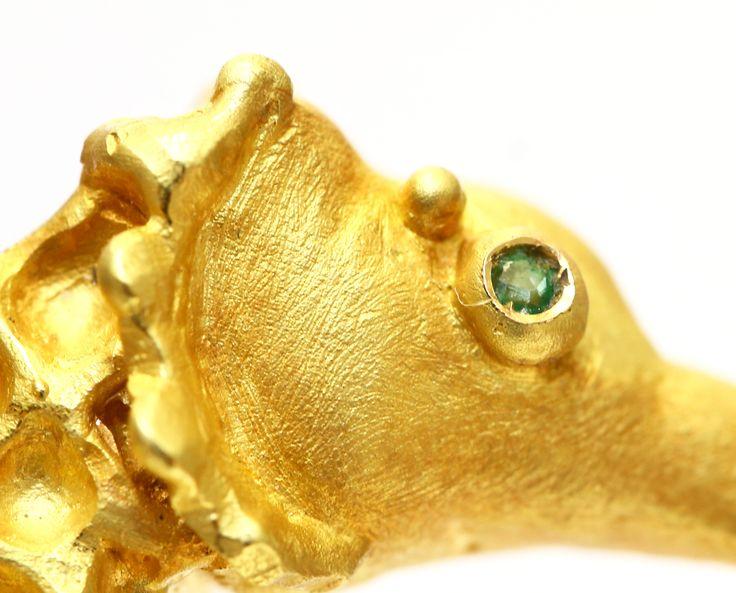 Seahorse gold brooch by Grete Bottamedi