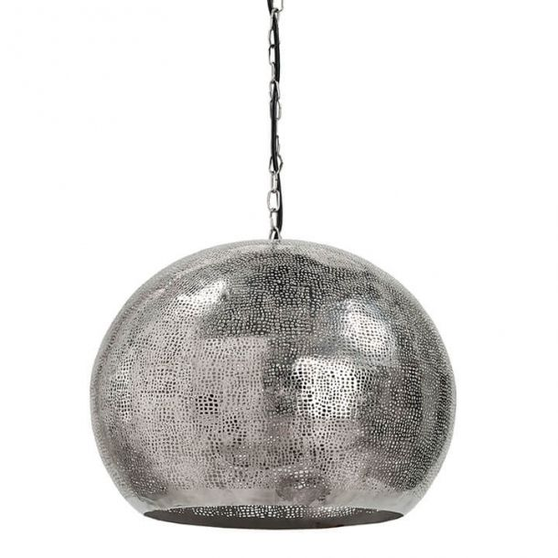 Pierced Metal Sphere Pendant In Polished Nickel | Globe