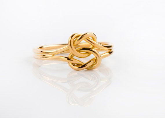 14K / 18K Solid Gold Double Knot Infinity Ring  Love, Nautical Engagement Ring, Alternative Engagement Ring, Solid Gold Wire Ring, Infinity Knot Ring,