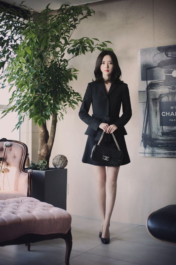 Korean fashion | office look black couture www.milkcocoa.co.kr