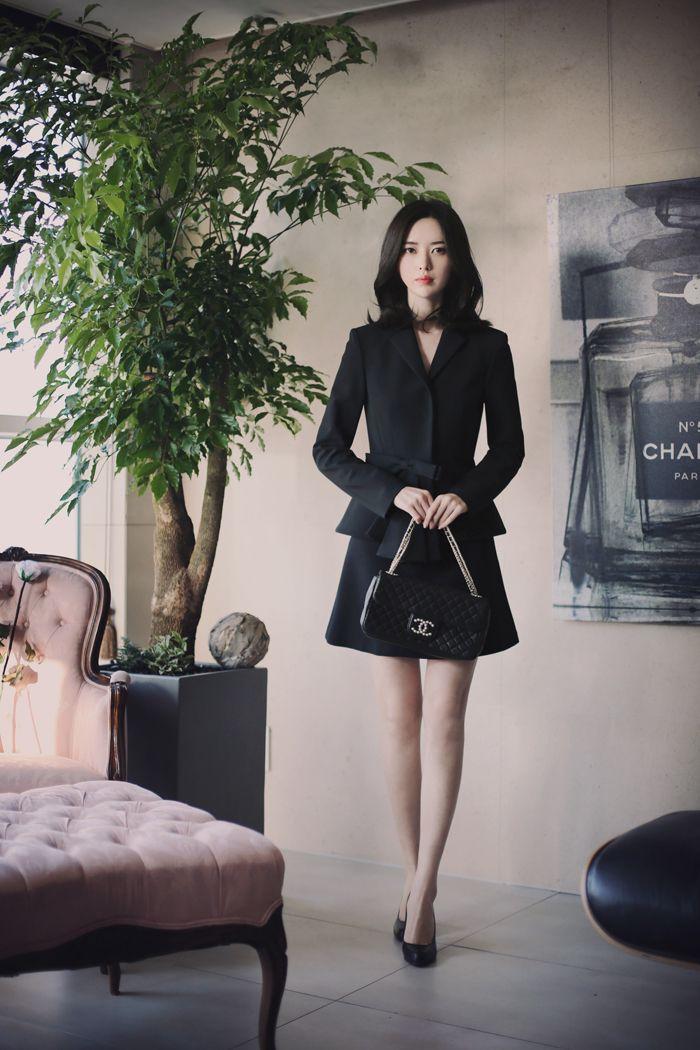 Korean fashion | office look black couture www.milkcocoa.co.kr