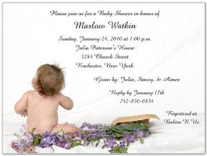 """Lilac Baby Shower Invitations - Set of 20 by Storkie Express. $35.80. all text and layout can be customized. after you place your order, you will be contacted for the custom text. includes one blank envelope for every invitation/announcement/card (envelope return address printing also available). 1 qty. pack is 20 invitations/announcements/cards. custom printed with personalized text (and photo if applicable). Baby Shower Invitations: """"Lilac"""" features a beautiful ..."""