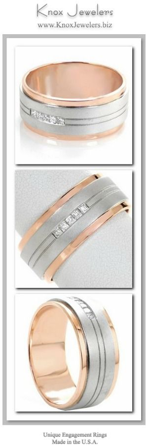 This men's wedding band design is a bold contemporary wedding band. The elevated white gold center features pin striping details that highlight five square diamonds captured in a channel setting. The cool, sand-blasted matte finish of the white gold contrasts perfectly with the warm hue and high polished luster of the rose gold sides.