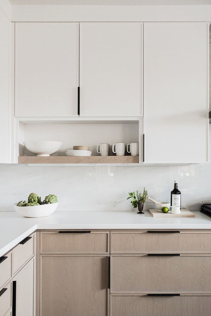 Two Tone Kitchen Cabinets With Bright White Upper Cabinets And