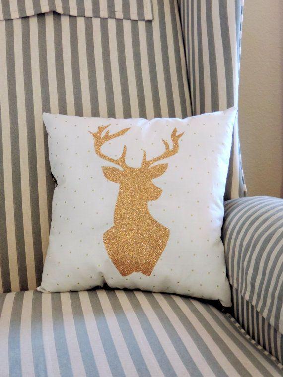 Glitter Gold Deer Silhouette Home Decor Decorative Pillow Sparkle Deer Pillow Mountain Decor Gift Ideas Throw Pillow