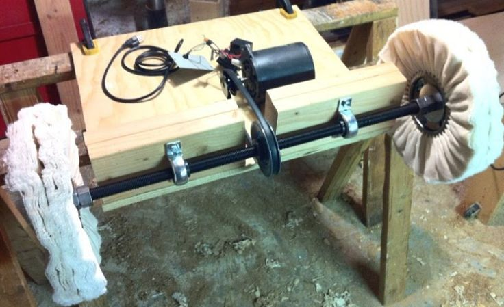 Buffing Machine by robanomoly -- Homemade buffing machine comprised of a repurposed bandsaw motor driving a rod with mounted buffing wheels. http://www.homemadetools.net/homemade-buffing-machine