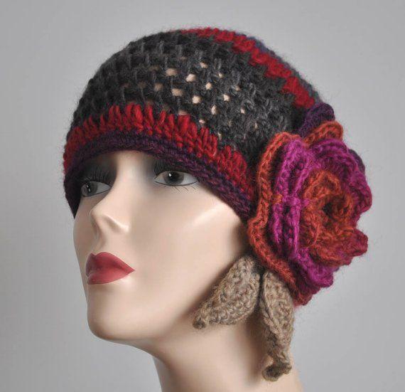 Crochet Flower Applique Hat