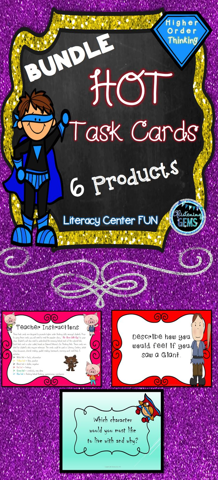 HOT Task Card Bundle - Plenty of task cards to promote higher order thinking skills and critical thinking.