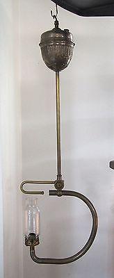 lampe à gaz ancienne suspension métal et verre