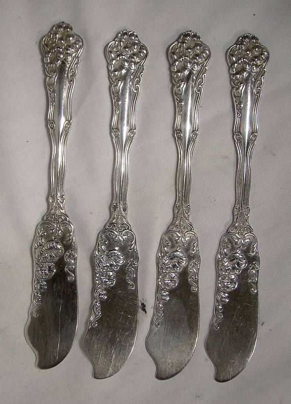 Set of 4 Antique Rogers Berwick or Diana Silver Plated Butter