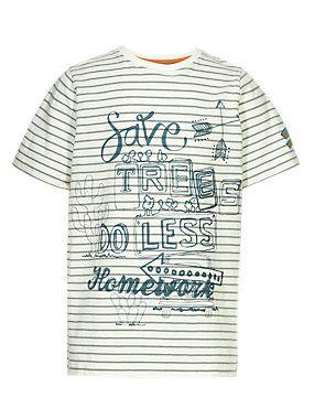 Ecru Mix Pure Cotton 'Save Trees Do Less Homework' Slogan T-Shirt