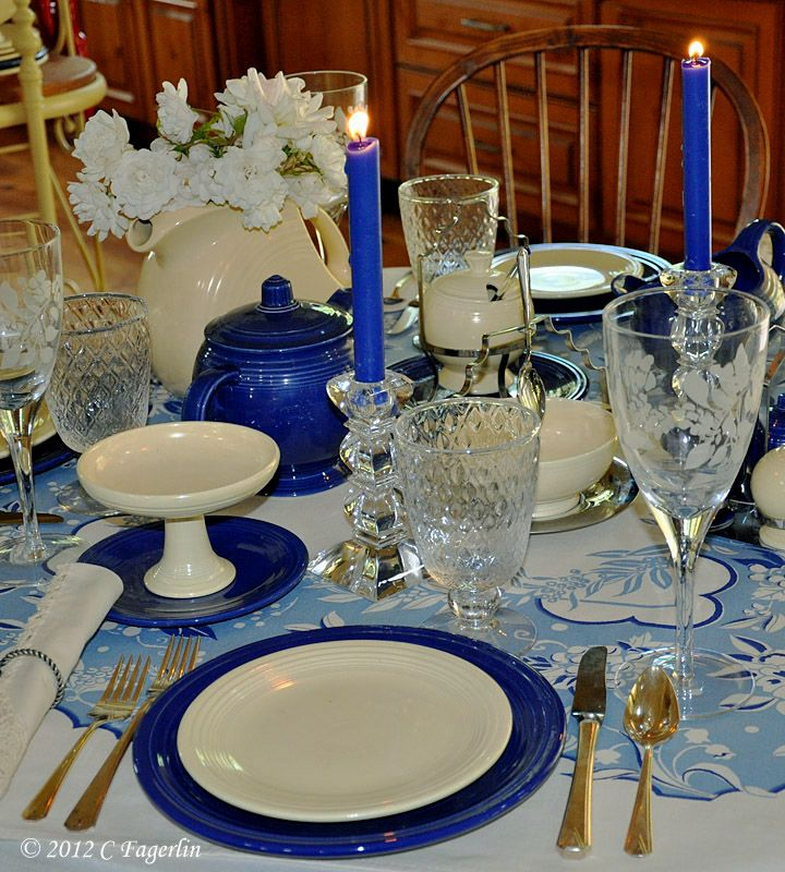 The Little Round Table: Vintage Cobalt Blue And Ivory