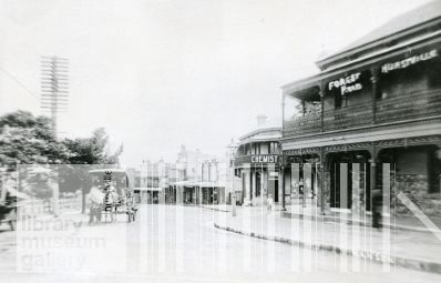 Forest Rd, Hurstville, N.S.W. early 1900s  The road had officially been the Illawarra Road which was to link that region with Sydney, but was widely known as Gannon's Forest Road up until the 1880s when it became Forest Road.  Patrick MacMahon, a prominent land-holder in the area, built the original Hurstville Hotel featured in the right foreground of the photograph in 1884