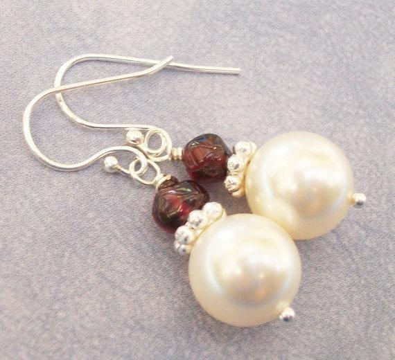 Swarovski Pearl And Red Garnet Sterling Silver