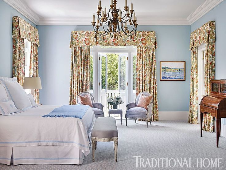 Blue By Evoke A Soothing Aura While Patterned Draperies Provide Splash Of Pattern And Complement The Antique Furniture Design Carolyn Griffith