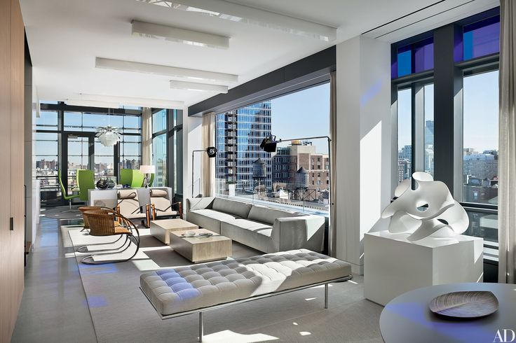 23 Luxury Penthouses Photos | Architectural Digest  An Eva Hild sculpture has pride of place in the living area of a Manhattan penthouse by Lee F. Mindel; the building was designed by Jean Nouvel