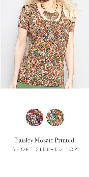 PAISLEY MOSAIC PRINTED SHORT SLEEVED TOP http://www.kimco.ca/product/paisley-mosaic-printed-short-sleeved-top/