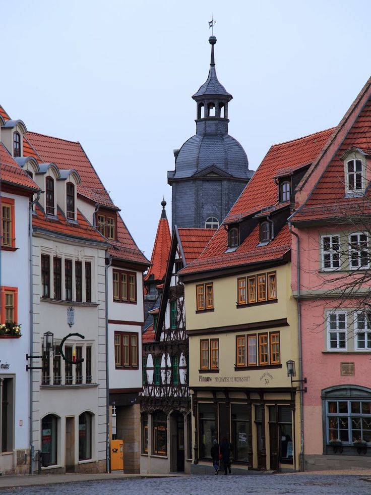City center Gotha, Germany, great shopping & cafes all on cobblestone streets.
