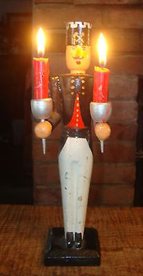 1950s Erzgebirge Miner Candle Holder German Christmas Soldier Putz Tree Carving | eBay