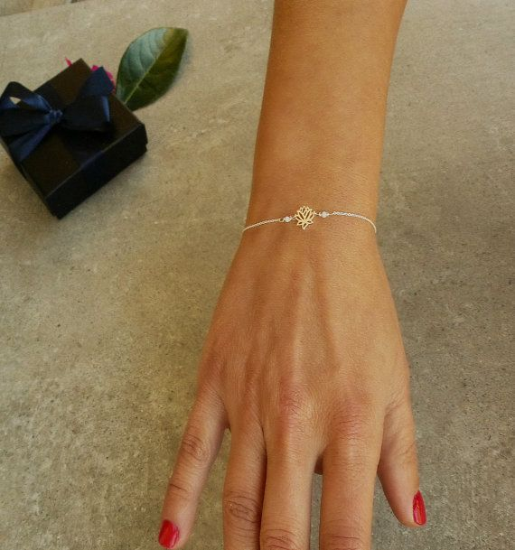YOGA Bracelet,Tiny LOTUS Flower, Yoga jewelry. Spiritual Bracelet, Amazonite beads, Gift for her, Petite Yoga bracelet, Dainty necklace.