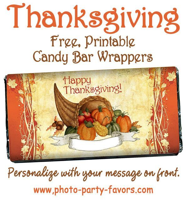 DIY Cornucopia FREE Printable Candy Bar Wrappers For Thanksgiving - fits a LARGE 5 oz. Hershey Bar.