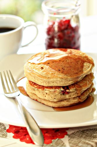 Orange Cranberry Pancakes sound great and with whole wheat flour. YUMMY