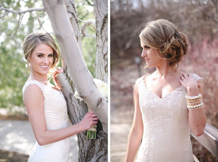 I'm almost positive I want my updo to the side, very much like this.  I should have it messy enough to have accessory poking out somewhere though.