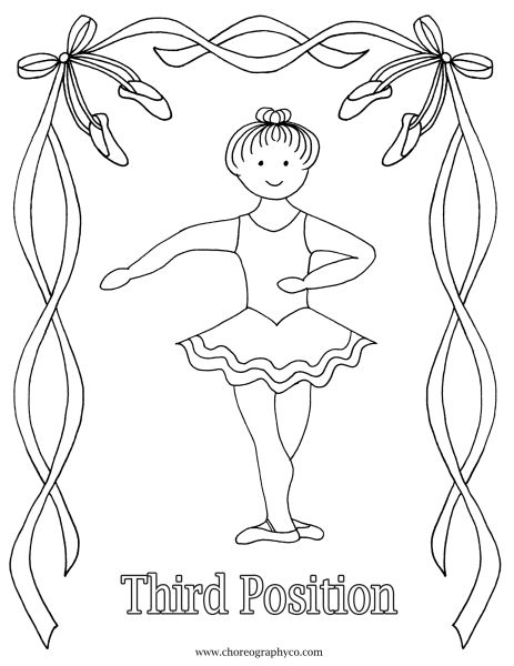 Reproducible Ballet Coloring Pages - Master small_Page_03   -Third Position