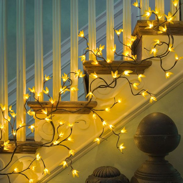 The addition of tiny lights, to a graceful Forsythia branch garland makes for a stunning decorative element. The garland is 6 feet long with 96 led lights and an 16' electrical cord. brbrliDimen...