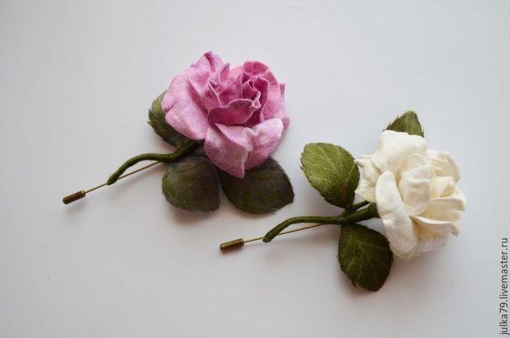 Купить Розочки - розовый, белый, розы, роза брошь, роза, роза из шерсти, войлок, брошь
