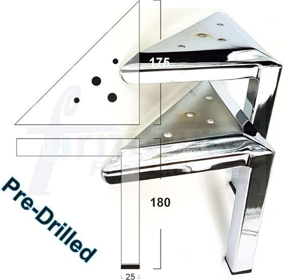 4 X CHROME FEET CHROME FURNITURE LEGS FOR SOFAS CHAIRS SETTEE STOOLS PRE DRILLED