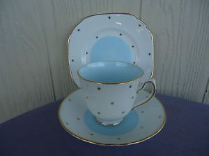 vintage art deco duchess blue and gold stars trio bone china
