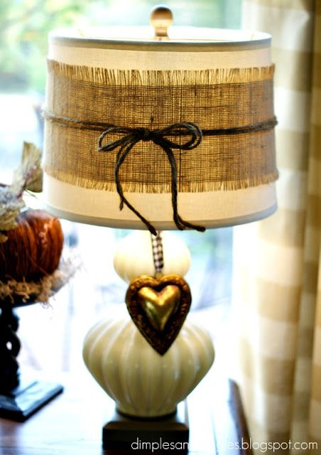 Dimples and Tangles: My Fall Decor -- wrap a strip of burlap around your lampshades, tie with jute string!
