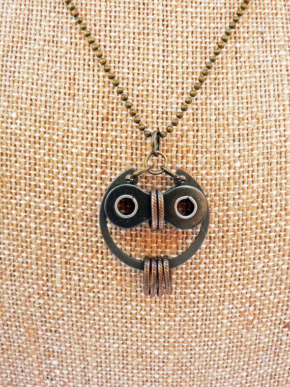 Owl Necklace ~ Bronze & Black Steel Bicycle Chain Hardware   . . .  ღTrish W ~ http://www.pinterest.com/trishw/  . . .  #handmade #jewelry #reuse