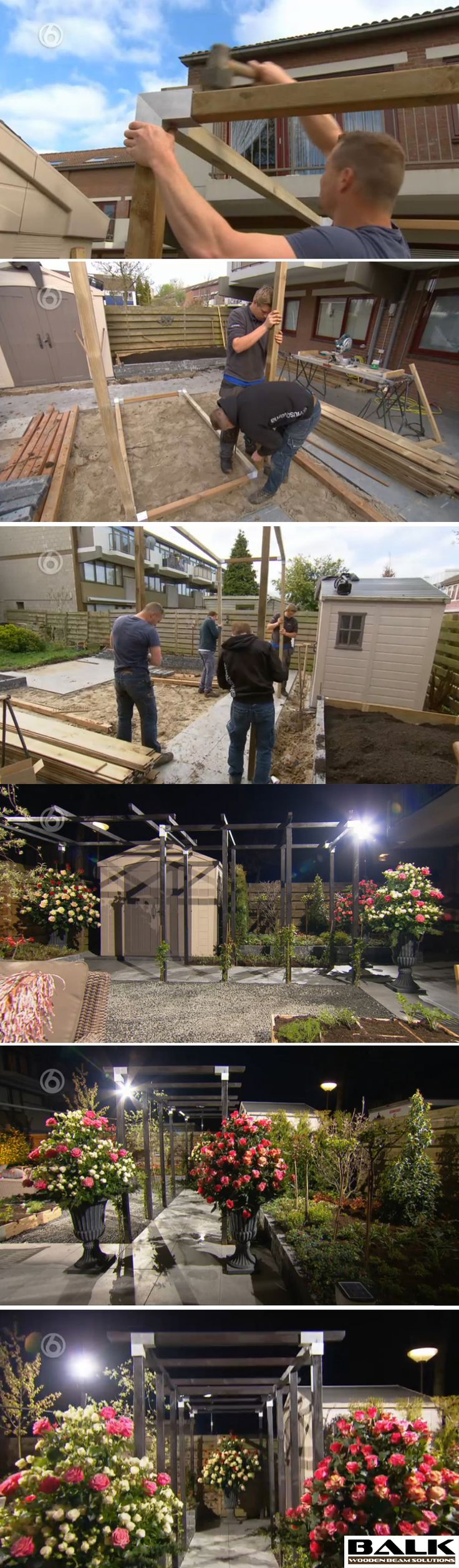 Pergola construction made with BALK connectors / couplings / joints / fittings / corner pieces for wooden beams.  This episode is in Dutch. http://www.sbs6.nl/programmas/robs-grote-tuinverbouwing/videos/zcnx5fqAoV6/robs-grote-tuinverbouwing-aflevering-34