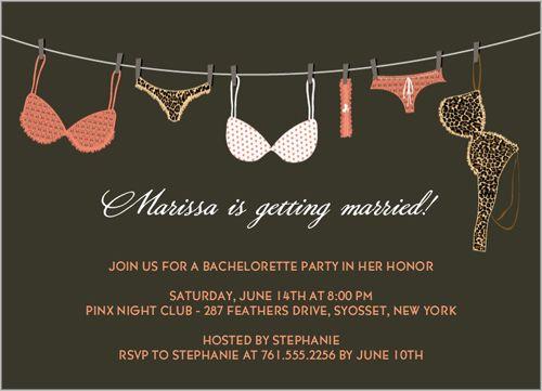 Lingerie Line Bachelorette Party Invitation