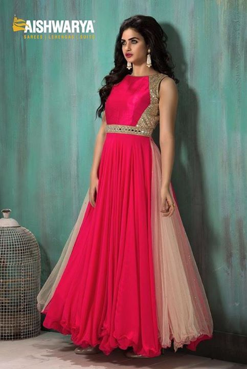 This super cute anarkali suit can make your high fashion look very attractive...Find anarkali suit at: http://www.aishwaryadesignstudio.com/high-neck-style-peach-crream-color-anarkali-suit
