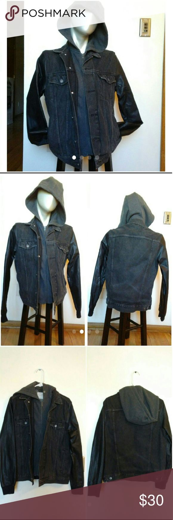 New Jacket with Built in Hoodie NWOT. Layerd black denim jacket with faux leather sleeves and gray hoodie underlay. This jacket is so cool, just a bit snug. Men's size small. No signs of wear, perfect condition! Zip up hoodie with black denim button up jacket.   ?All proceeds from my listings go toward my medical expenses! Jackets & Coats