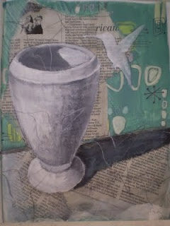 Mixed Media Lesson - Draw and Paint on newspaper - add color and pattern to background